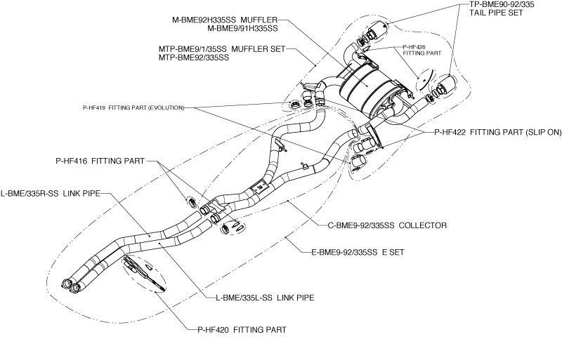 Выхлопная система EVOLUTION для BMW E90/91 335i (титан) от Akrapovic.